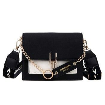 2020 new mini handbags women fashion ins ultra fire retro wide shoulder strap messenger bag purse simple style Crossbody Bags 10