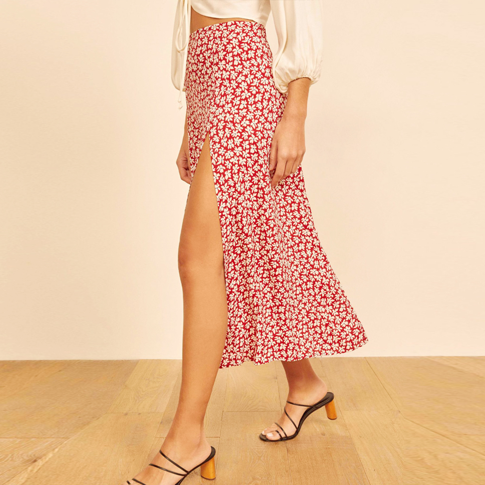 Fashion Floral Skirt Women Summer High Waist Split Beach Casual Midi Skirts Boho Elegant Vacation A Line Skirt Jupe Faldas 3