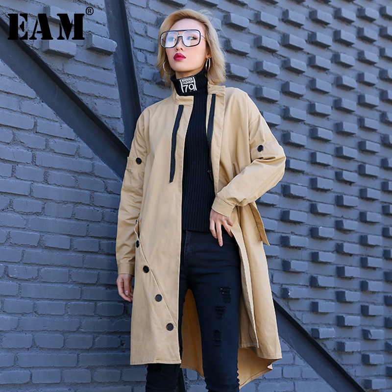 [EAM] Women Black Button Split Big Size Trench New Stand Collar  Long Sleeve Loose Fit Windbreaker Fashion Spring 2020 1R151