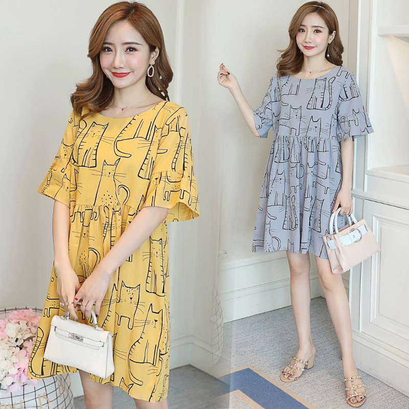 Nursing Breastfeeding Dress 2PCS Set Maternity Striped Cotton Cute M//L//XL2//XL