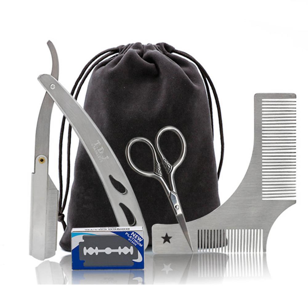Beard Comb Razor Scissor Razor Blades Beard Styling Set For Men Hair Care Stainless Steel Ideal For Men's Beard Grooming Kit