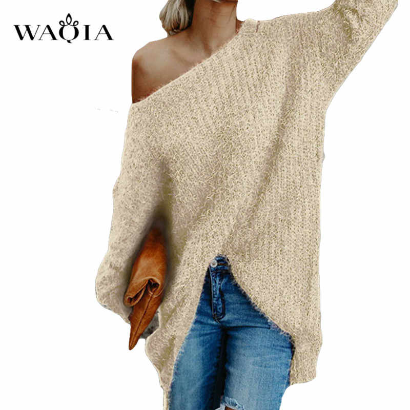 נשים כבוי כתף לסרוג סוודר סתיו ארוך שרוול סרוג סוודרים 2019 חורף חולצות לנשים סוודר Jumper למשוך Femme