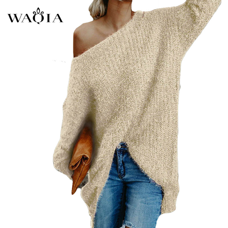 Womens Off The Shoulder Knit Pullover Autumn Long Sleeve Knitted Sweaters 2019 Winter Tops For Women Pullover Jumper Pull Femme