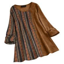 Jaycosin moda mujer Casual Vintage rayas estampado Patchwork bolsillo botón blusa elegante manga larga cómoda Chic blusa 25