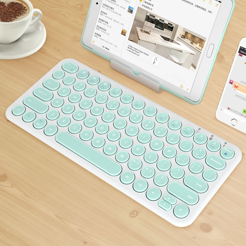 Wireless Silent Gaming Keyboard Round Keycap Bluetooth Keyboard For Macbook Pro IPhone IPad Ultra-slim Computer Keyboard