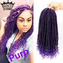 Curly Hair Hair-Extensions Braiding-Hair Crochet Faux-Locs Goddess Purple-Color Synthetic