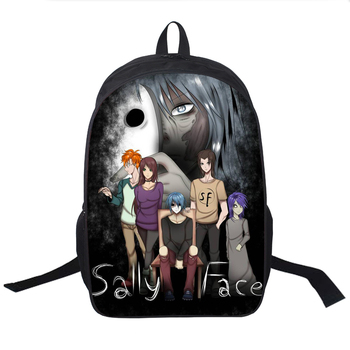 Sally Face Printing 16 Inch Backpack 3D Printed Waterproof Backpacks Bag Teenager Girl School Backpack Mochilas Bagpack Unisex girl printed medium paper bag