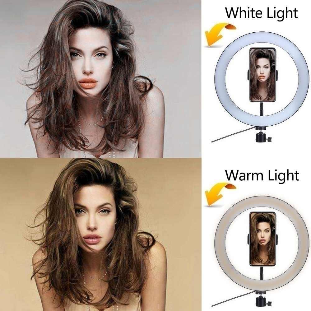 Chụp Ảnh Youtube Đèn LED Selfie Lạnh Ấm Chiếu Sáng Đèn LED Dimmable Ánh Sáng Điện Thoại Video Đèn Chân Vòng Lấp Đầy Ánh Sáng