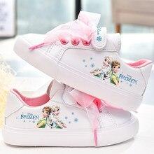 Chaussures en toile antidérapantes pour filles, chaussures de sport décontractées, princesse de la reine des neiges, avec nœud blanc, cadeau pour filles