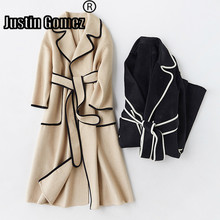 цена на Patchwork Full Sleeve Turndown Collar Long Cashmere Coat Warm Premium Outdoor Natural Classic Wool Coat Female Casual Overcoat
