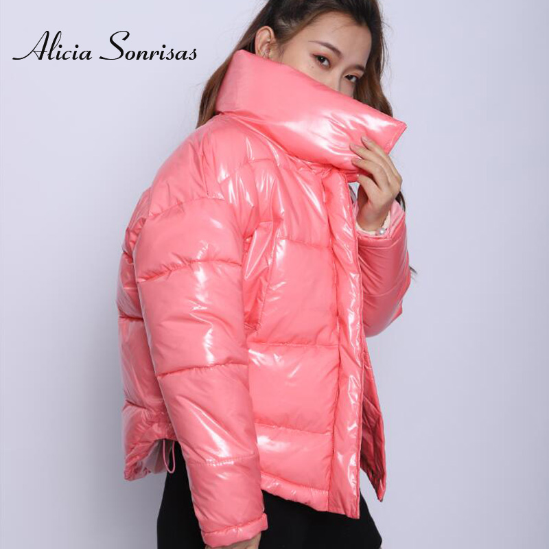 Women Jacket Winter New 2019 Pink Silver Cotton Padded Coat Glossy Waterproof Puffer Jackets Manteau Femme Hiver Thick Parkas