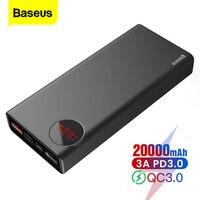 Baseus 20000 mah banco de potência usb c pd carga rápida 3.0 20000 poverbank portátil carregador de bateria externa powerbank para xiao mi 9|Baterias Externas| |  -