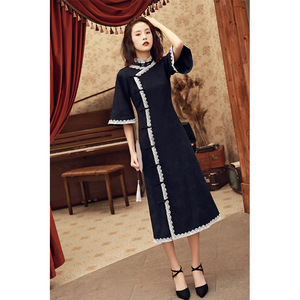 Image 2 - 2020 Vestido De Debutante Cheongsam 2020 Summer New Modified And Linen Robe Young Girl Students Cute Little Sweet Wind Clothing