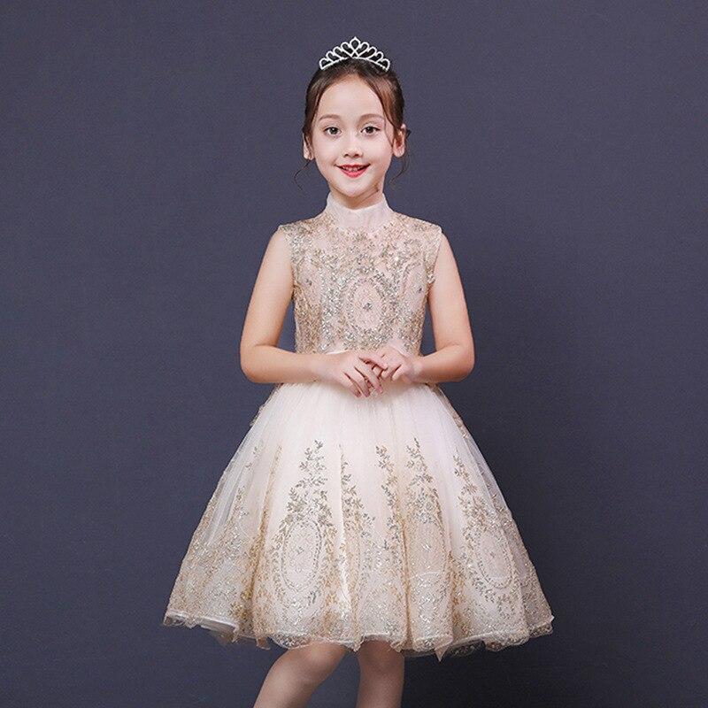 Children Evening Gown Flower Boys/Flower Girls Piano Costume Small Host Birthday Catwalks Puffy Yarn Tailing Model Princess Skir