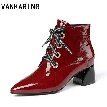 Брендовые модные ботинки из лакированной кожи со складками; Цвет черный, красный; женские ботильоны; сезон осень-зима; женские модельные бот...