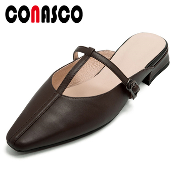 CONASCO Women Sandals Slippers Mules Pumps Genuine Leather Thick Heels T-Tied 2020 Summer New Arrival Sweet Casual Shoes Woman