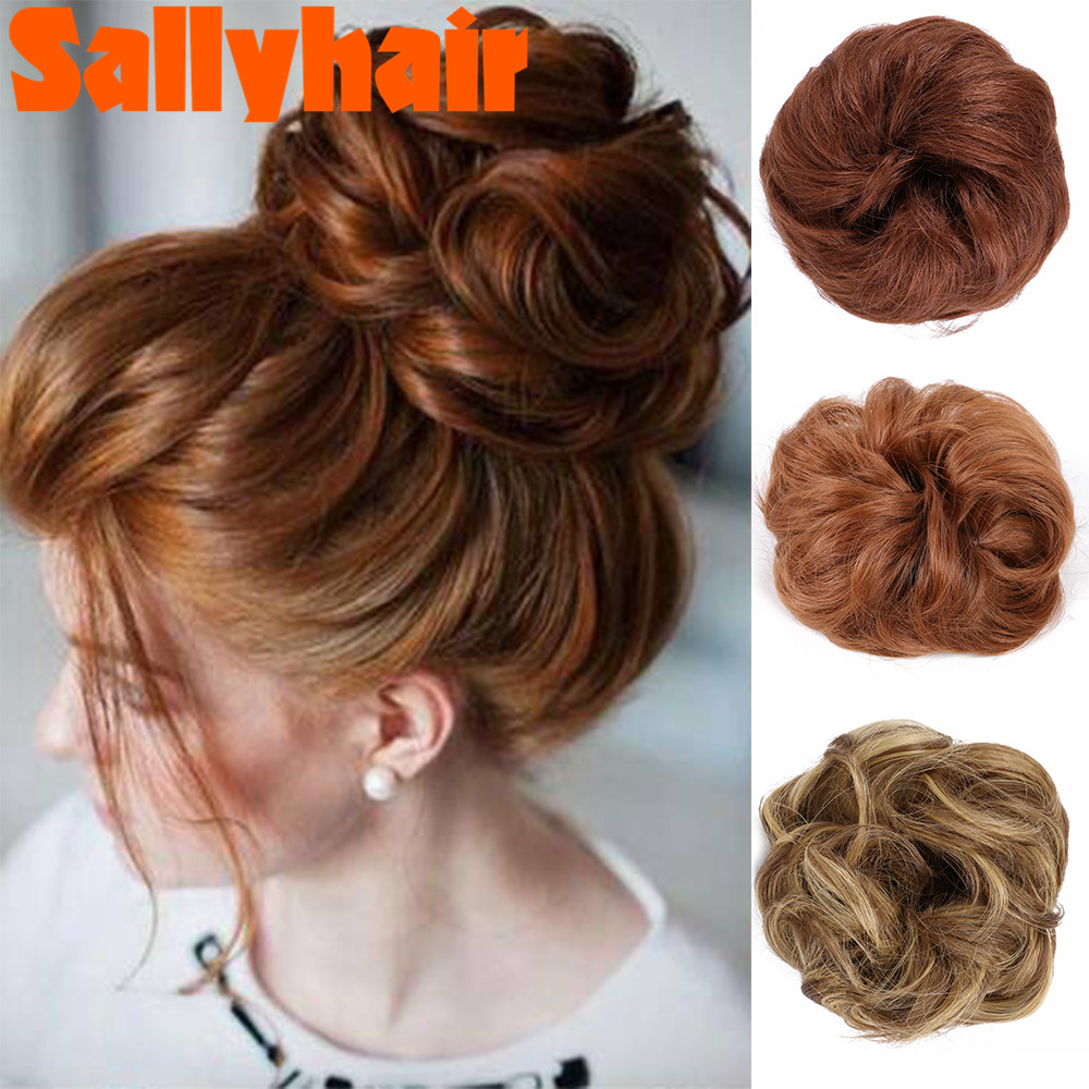Sallyhair Chignon Hairpieces Synthetic Ombre Elastic Updo Chignon Fluffy Messy Scrunchies Hair Bun Fake Hair Wrop On Ponytails