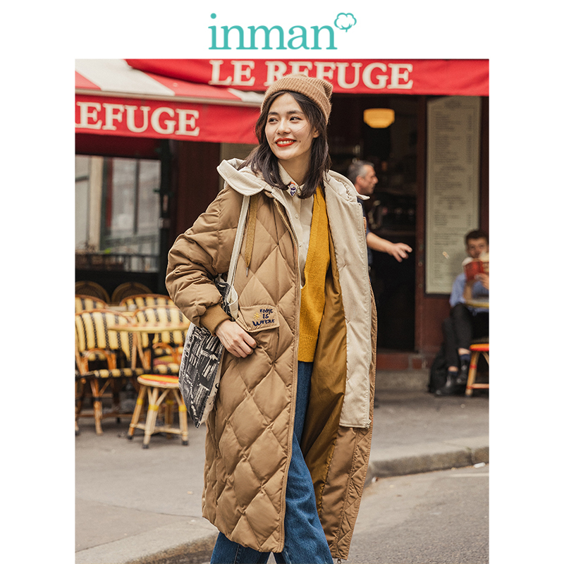 INMAN 2019 Autumn Winter New Arrival Minimalism All Matched Stand up Collar Solid Fashion Thin Warmful Women Short   Down     Coat