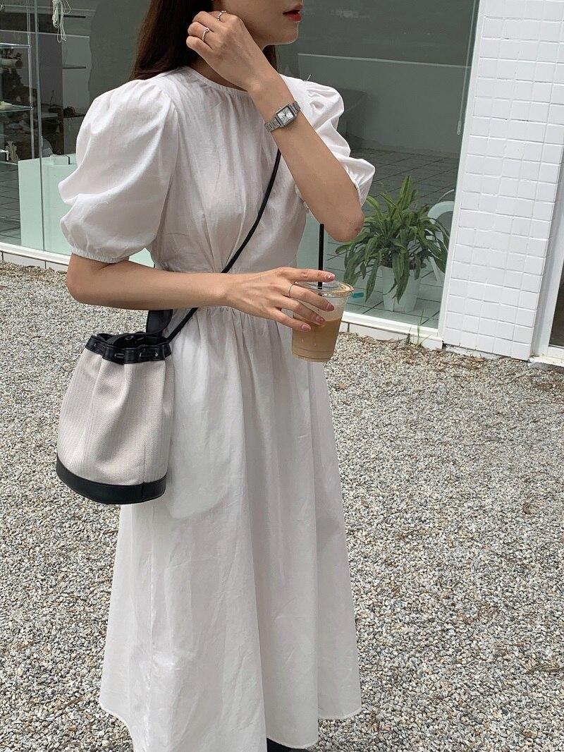 Ha5389d0156f849f79d4c35fee08c320cB - Summer O-Neck Short Sleeves Elastic-Waist Calf Length Solid Dress