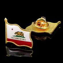 USA State of California Flag Pin Brooch Metal Badge National Patriotism Collectible Pin Decorations 5pcs vermont of usa state national patriotism metal paint commemorative badge wear pin brooch collection