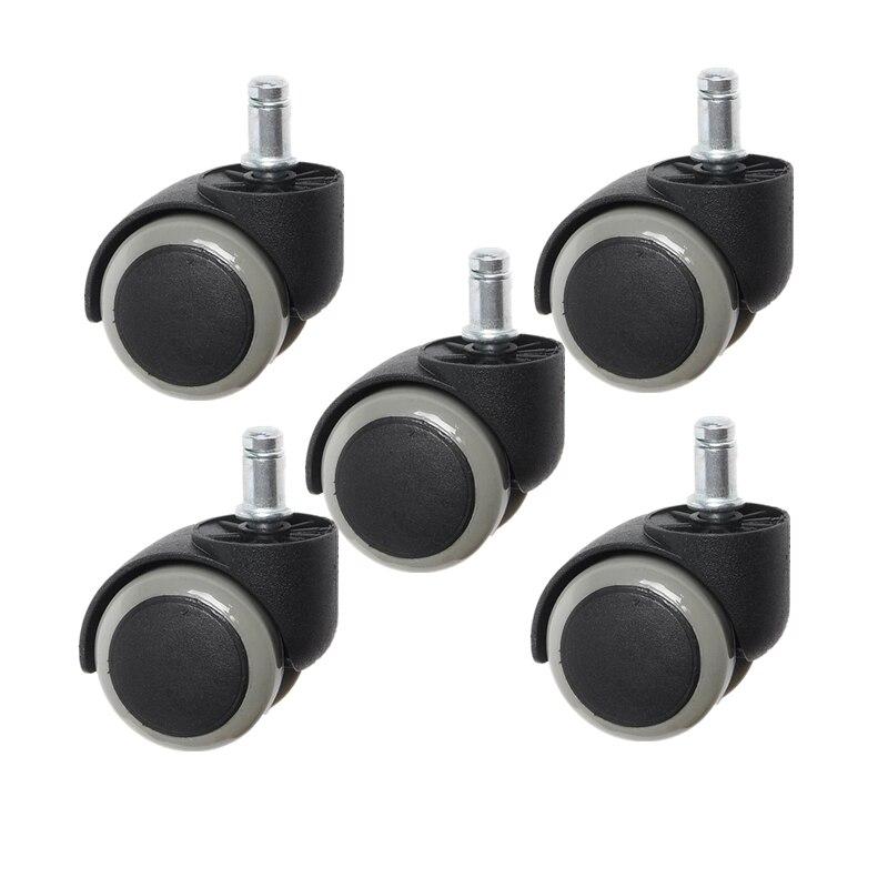 5 Pcs/Lot 2 Inch M10/M11 Gray/White Office Chair Universal Wheel Nylon Pu Edge Inserted Pole Caster Boss Silent 10mm/11mm