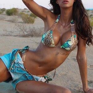 Image 2 - Snake print brazilian bikini 2019 Halter push up swimsuit female bathing suit Triangle sexy swimwear women biquinis Micro bikini