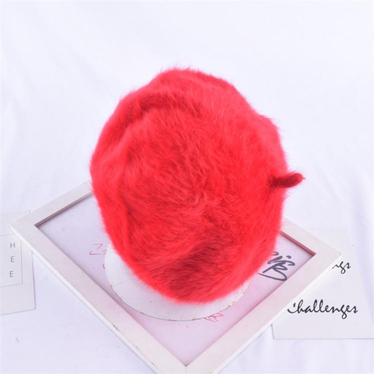 1 шт. женская элегантная разноцветная Шапка-берет из меха кролика - Цвет: red