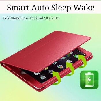 Intelligente Tablet Caso Per Il Nuovo IPad 2019 7th Generation Coque Di Vibrazione Del Cuoio Del Basamento Della Copertura Per IPad 10.2 2019 Auto Sonno Wake Fold