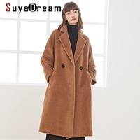 SuyaDream Handgemachte 50% Alpaka Kaschmir 50% Wolle Frauen Lange Mantel Elegante Büro Chic Wolle Mischung Kamel Winter Mantel
