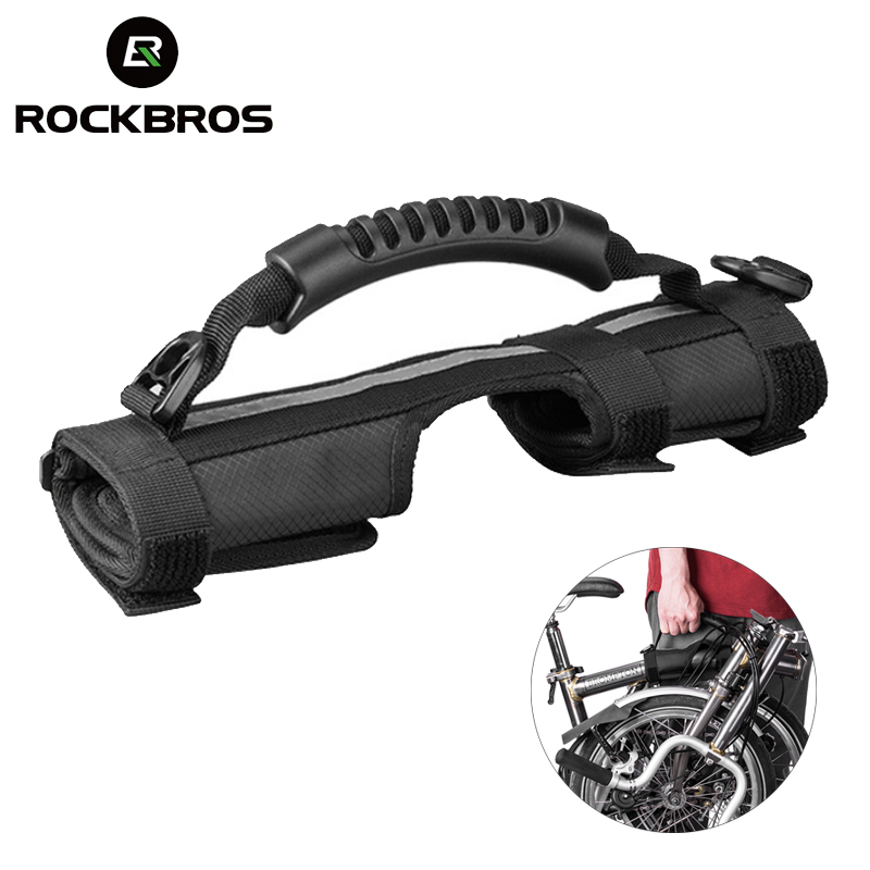 ROCKBROS Folding <font><b>Bike</b></font> Frame Carry Shoulder Strap Bicycle <font><b>Carrier</b></font> Handle Handgrip For Brompton <font><b>Bike</b></font> Cycling Bicycle <font><b>Accessories</b></font> image