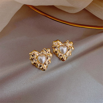 Han Edition Geometric Heart-Shaped Earrings Contracted Punk Pearl Earring Female Wedding Fashion Jewelry Pendants image