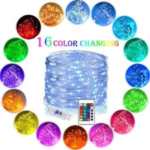 5 м 10 м USB RGB диммируемая медная проволочная лампа с пультом дистанционного управления LED украшение сказочная свадебная комната домашний сад ...