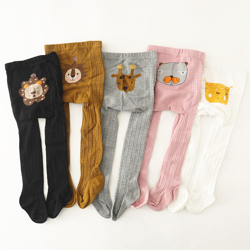 Baby Knitted Leggings Children Girls Leather Bronzing Pants Skinny Elastic Waist Child Baby Casual Warm Trousers New Autumn