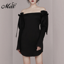 Max Spri 2019 New Fashion Women Party Slim-Fit Slash Neck Off Shoulder Bow Tie Lace Up Long Sleeves Mini Black Dress Daily Wear black off shoulder long sleeves lace detail playsuits