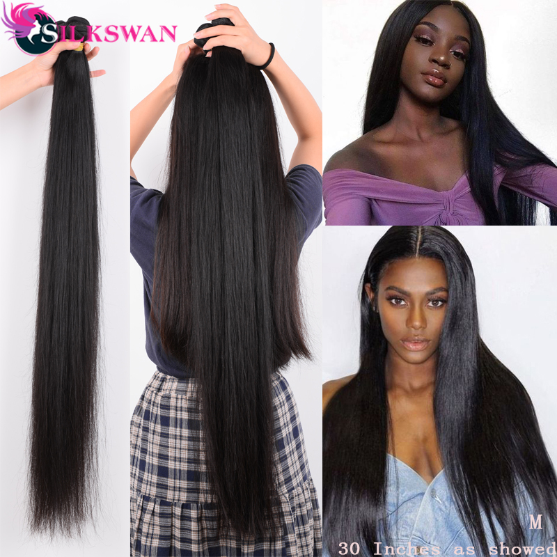 Silkswan 32 34 36 38 40 Inch Straight Human Hair Bundles 3 4 Pieces Remy Hair Extension Brazilian Hair Weave Bundles