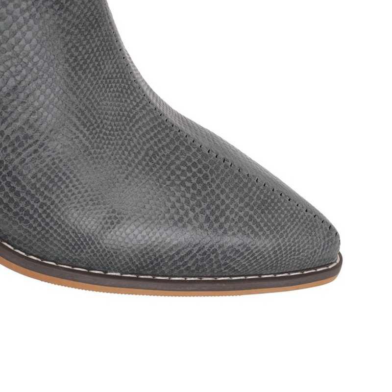 REAVE kedi kovboy yarım çizmeler kadınlar için sivri burun kare topuk Slip-on katı rugan büyük boy 40- 46 gri siyah sarı
