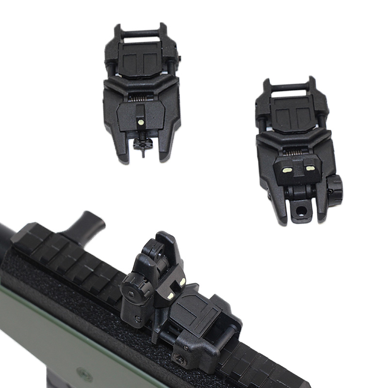 Tactical Scope Sight For M4 AR15 AR-15 20mm Picatinny Rail Noctilucent Flip up Front Rear Sight Set Hunting Rapid Backup Sight image