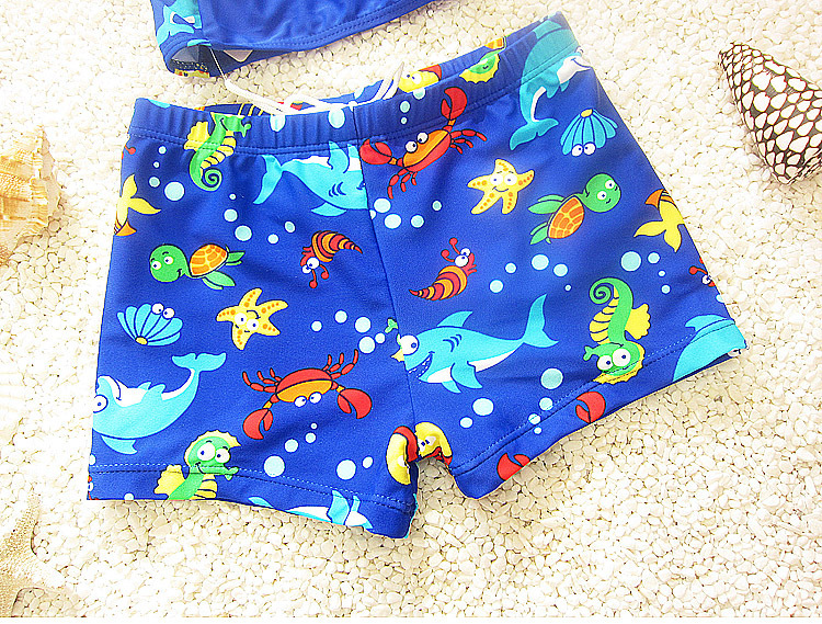 Korean Models Boxer Cartoon BOY'S Swimming Trunks Swimming Cap Baby Infants Boy Large Size CHILDREN'S Swimwear Hot Springs Set
