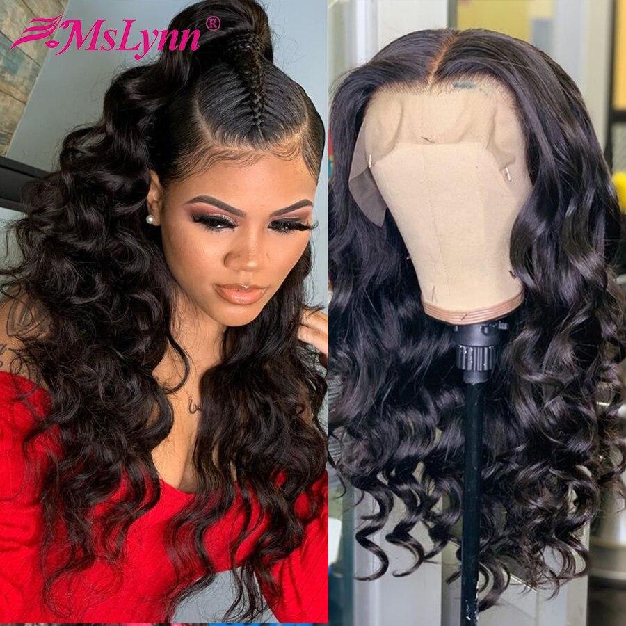 Perucas de cabelo humano frontal para negras, ondulado, parte frontal/13x6 peruca de cabelo humano de renda de densidade 250% mslinn