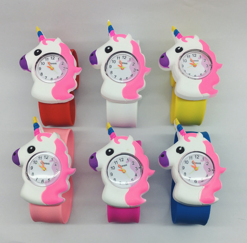 3D Cartoon Unicorn Kid Watches Casual Quartz Wristwatch Silicone Band Slap Watch Children Unicorn Sports Watch Cute Baby Clock