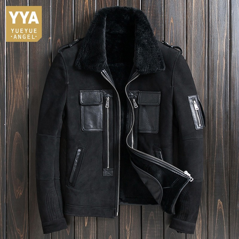 Luxury Sheepskin Shearing Genuine Leather Mens Short Jackets Winter Thick Warm Real Fur Liner Male Plus Size Outerwear Coats