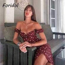 Foridol fora do ombro floral impressão fenda vestido feminino verão boho vestido longo vermelho festa a linha maxi plissado praia rosa vestido 2021