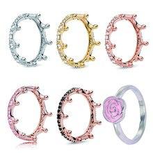 Bague en or Rose pour femmes, offre spéciale, couronne Fine, ronde, empilable, marque originale, bijoux cadeaux