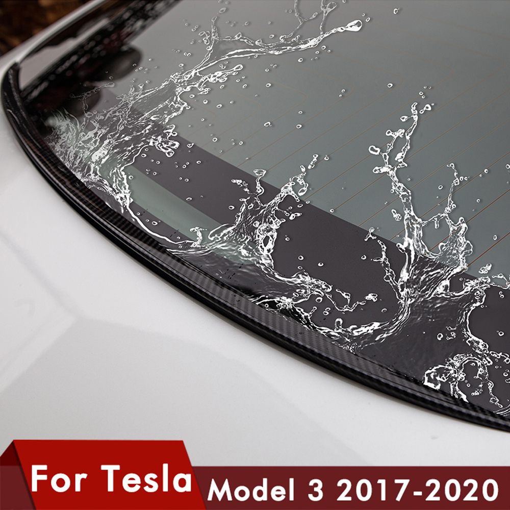 New For Tesla Model 3 Spoiler Carbon Fiber Black ABS Trunk Rear Spoiler Cover Trim Water Retaining Wing Model3 There 2017- 2020
