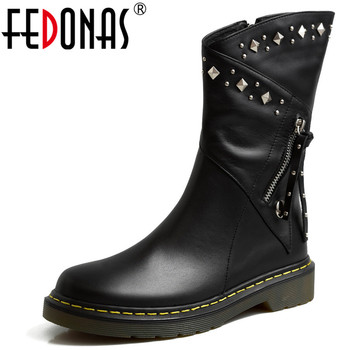 FEDONAS Rivets Genuine Leather Women Ankle Boots Winter Warm Motorcycle Boots Flats Platform Party Shoes Woman Chunky Heels