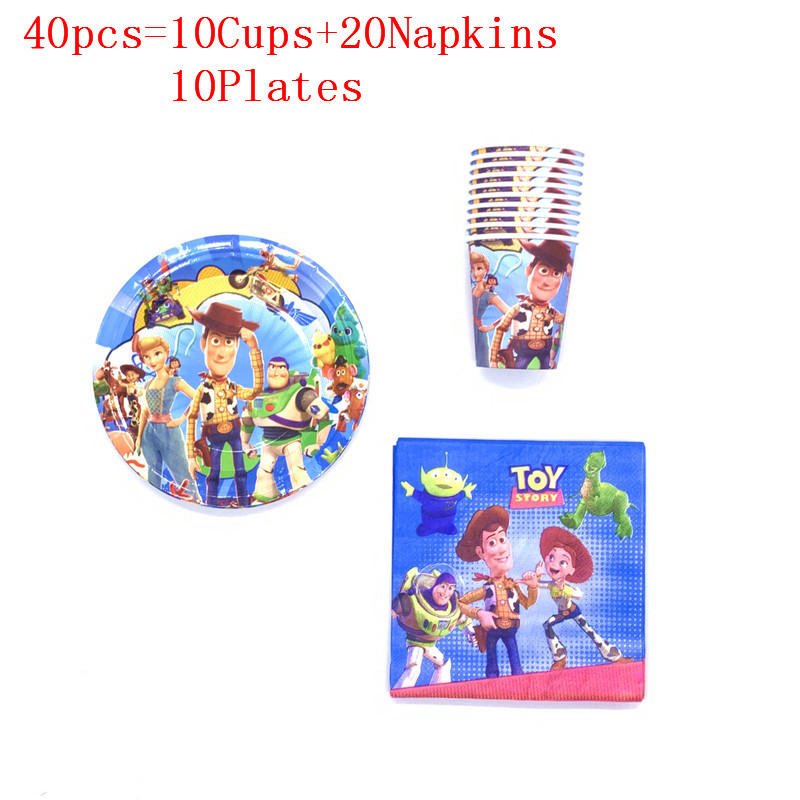 40pcs/60pcs Disney Toy Story 4 Woody Buzz Lightyear Birthday Party Paper Cup+Plate+Napkin Event Party Paper Tableware Set Supply