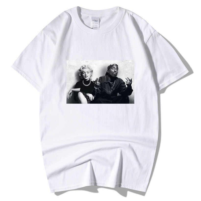 2020 di Modo di estate di Disegno Legends Tupac 2Pac Marilyn Monroe T Degli Uomini Della Camicia Casual Hip Hop Manica Corta Girocollo In Cotone T-shirt