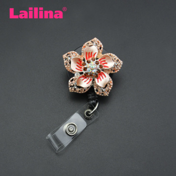 Colourful Jewelry High Quality Retractable Badge Holder Vintage Gold rhinestone Flower ID badge reel