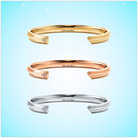 Sterling silver 925 European and American classic brand ladies gold rose gold key shape zircon alphabet bracelet jewelry gifts