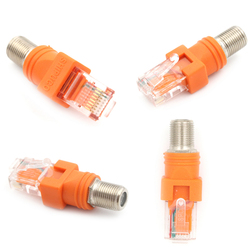 F-Type Connector RF Female To RJ45 Male Coaxial Barrel Coupler Adapter Coax Adapter RJ45 To RF Connector